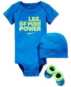 94d934d381e Nike Baby Girl Boy 3 Piece Gift Set Bodysuit Booties Beanie Hat 0-6 MO  Romper