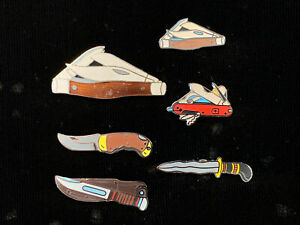 1980-039-s-Vintage-Mafco-Knife-Collection-Lot-of-6-NEW-hat-pin-lapel-vest