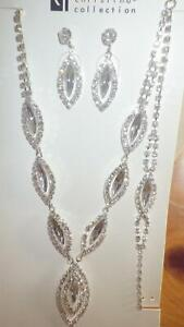 """Silvertone Crystal Marquise Cut Necklace set Bracelet Pierced Earrings 16-18"""" NP"""