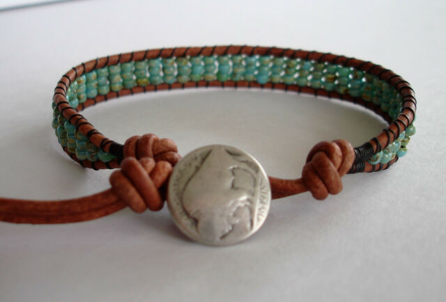 Turquoise Picasso Glass Seed Beads On Brown Leather Cord Handmade Wrap Bracelet