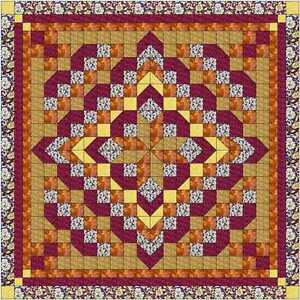 Quilt-Kit-Faceted-Star-Burgandy-Golds-Pre-cut-Fabrics-Ready-To-Sew-QUEEN