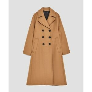 ZARA-SOLD-OUT-BNWT-Long-Oversized-Wool-Brown-Camel-Coat-8117-744-Size-XS