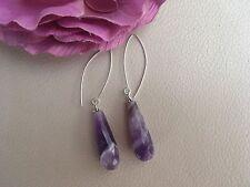 Long Drop Faceted Bi-coloured Amethyst Sterling Silver Earrings Teardrops