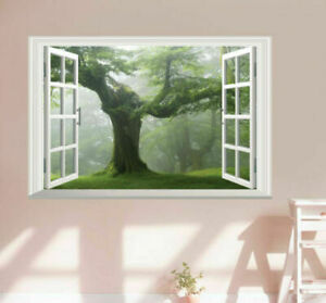Old-Green-Trees-3D-Window-View-Wall-Art-Sticker-Vinyl-Mural-Decal-DIY-Home-Decor