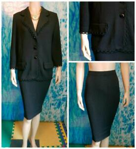 St. John Collection Knits Black Jacket Skirt L 14 12 2pc Suit Loop Trim Collared