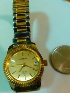 LADIES CITATION GOLD TONED ESTATE WATCH NEW BATTERY