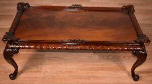 1930s-Chinese-Chippendale-carved-Mahogany-amp-Flame-Mahogany-Coffee-Table