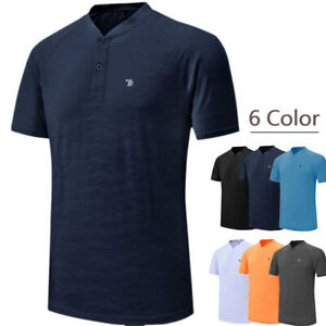 Men-039-s-Casual-Sport-Polos-T-shirt-Tank-Top-Button-Workout-Sportswear-Classic-Tee