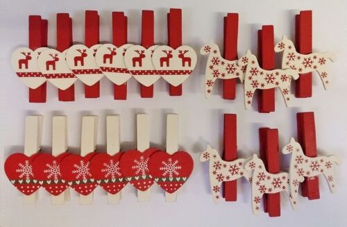 NORDIC WOODEN CHRISTMAS TREE CARD PEGS CLIPS CRAFT HOME DECOR SHABBY CHIC GIFT