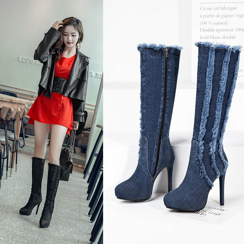 Fashion Denim Stiefel Damen Wadenhohe Stiefel High Heels Jeans Schuhe Gr:33-43 TOP