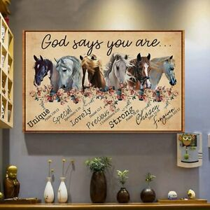 Hummingbird And Flowers God Says You Are Home Room Wall Decor Poster No Frame