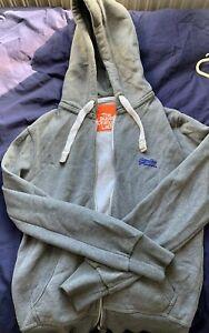 Mens-Superdry-Full-Zip-Up-Hoodie-Jacket-Sweatshirt-Light-Grey-Marl-MEDIUM-M
