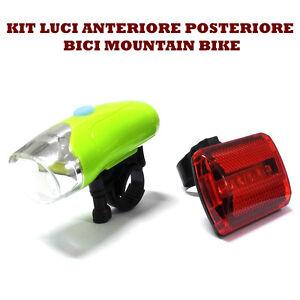 KIT-LUCI-BICI-MOUNTAIN-BIKE-ANTERIORE-POSTERIORE-LED-BICICLETTA-FARETTO-STOP