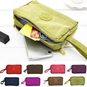 Women-Organizer-Three-Zipper-Wallet-Mobile-Phone-Bag-Short-Coin-Purse-JR15