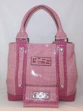 GUESS Walas Logo Bag Purse Handbag Large Tote Sac Wallet Set Pink White Multi