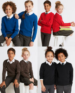 KIDS//BOYS //GIRLS V NECK COTTON RICH LONG SLEEVE JUMPER SCHOOL UNIFORM UNISEX