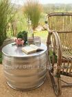 Handcrafted Industrial Silver Hammered Aluminium Metal Round Drum Coffee Table