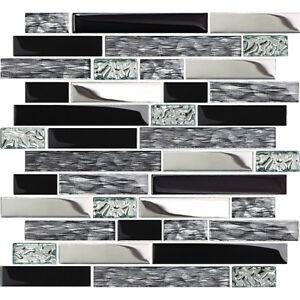 Black Silver Glass Tile Kitchen Backsplash Mosaic Art Home Decor Bath Wall Nb12 Ebay