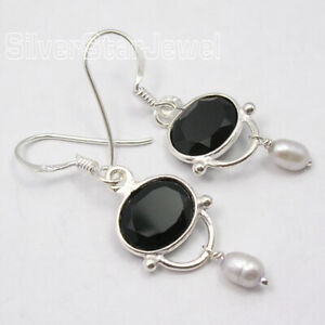 Black-Onyx-Vintage-Style-Dangling-Earrings-Solid-Sterling-Silver-Gemstone