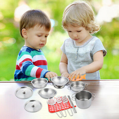 16pcs Kids Play House Kitchen Toy Set Cookware Cooking Utensils Pans Xmas Gift