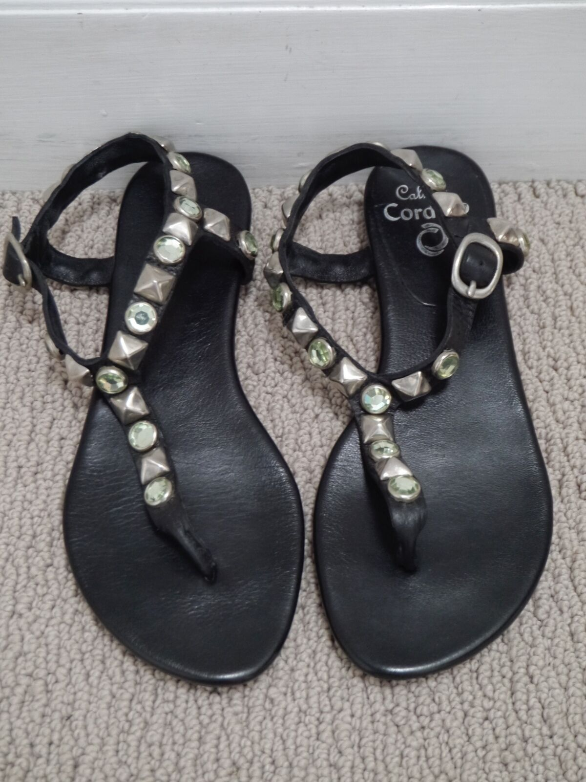 CALLEEN CORDERO black leather sandals with silver and jeweled stud details sz 6