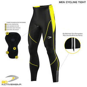 Mens-Compression-Cycling-Ziper-Tights-Coolmax-Padded-Cycle-Leggings-Long-Pants