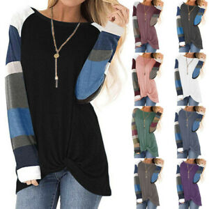 Women-Stripe-Print-Pullover-Loose-Tops-Long-Sleeve-Sweater-Casual-Blouse-T-Shirt