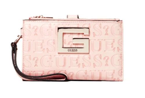 Guess Brightside double zip Organiseur Rose Femmes-Porte-monnaie Portefeuille Wallet