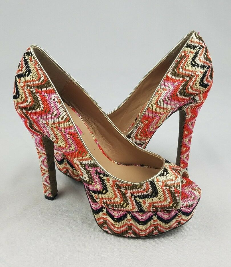 Betsey Johnson 7 Sashh Brocade platform pumps peeptoe heels chevron