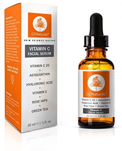 OZ Naturals Vitamin C Amino Hyaluronic Acid Facial Serum 30ml Anti-Ageing Skin