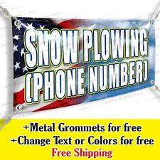 Snow Plowing Phone Number Custom Vinyl Banner Advertising Sign Usa Flag