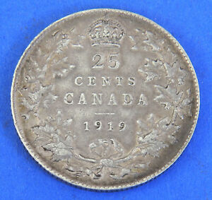 1920 Canadian 25-Cents Silver King George V