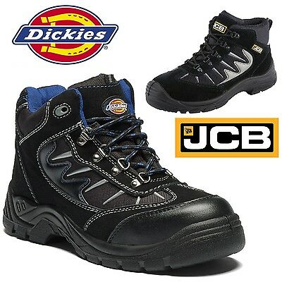 MENS LEATHER LIGHTWEIGHT SAFETY WORK SHOE HIKER STEEL TOE CAP TRAINER BOOTS 4-13