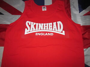 7d526537ad3 Image is loading Skinhead-England-T-Shirt-vest-RED