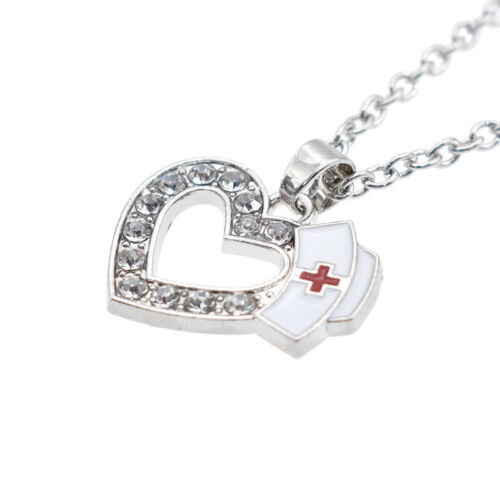 Silver Crystal Heart Enamel Nurse Cap Red Cross Pendant Necklace Charms Chain