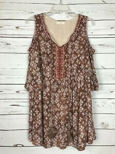 Anthropologie-Easel-Boho-Cold-Shoulder-Tunic-Shirt-Blouse-Top-Women-039-s-Sz-S-Small