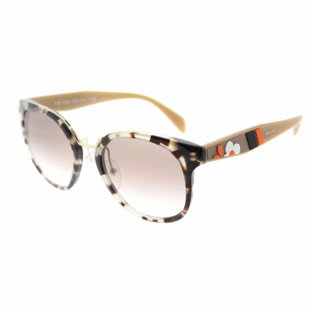 8e9b757d786 PRADA Cinema Flower Pr17ts Opal Spotted Brown Gradient Aviator Sunglasses  17t