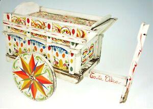 Painted Wood Wheeled Gypsy Wagon Garden Cart Folk Art Costa Rica Primitive Vtg