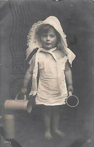 B84-Woodstock-New-Brunswick-Canada-Real-Photo-RPPC-Postcard-1908-Girl-Steins