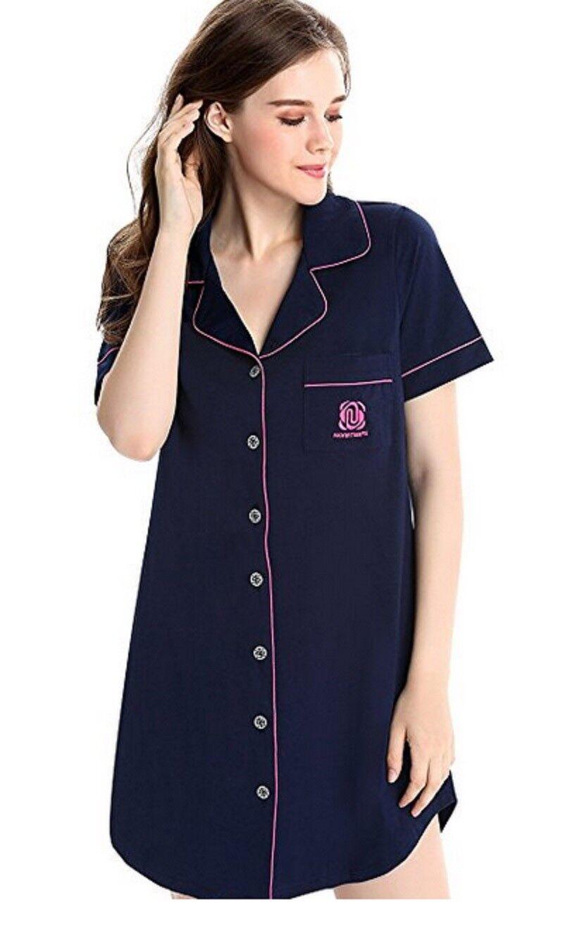NWT Womens Nightshirt Short Sleeves Pajama Boyfriend Shirt Dress, bluee XS(0,2)