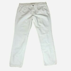 Old-Navy-Jeans-Women-039-s-Size-16-Reg-White-Sweetheart-Distressed-Straight-Denim