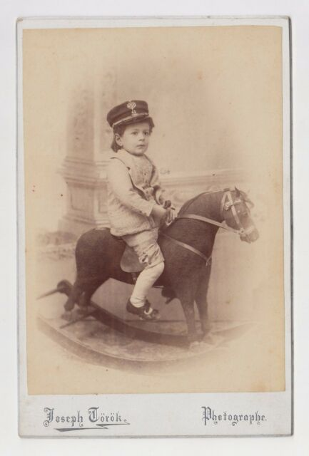 Bulgarian Circa 1890s Cab. Photo of Boy with Military Cap on Old Rocking Horse