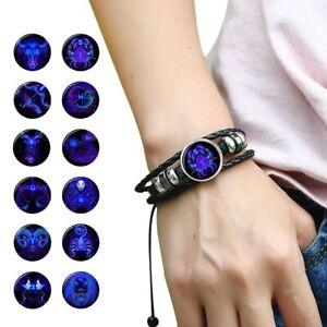 Bracelet-cuir-homme-femme-tendance-tresse-bijoux-12-Constellation-Signe-Zodiaque