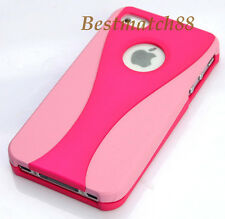 for iPhone 4 4s hard back rubber ized case pink & hot pink plus screen protector