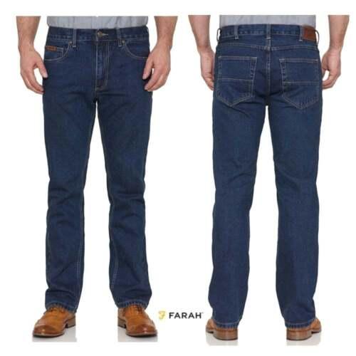 Farah Mens New Darwin Rigid Straight Leg Jeans Stonewash Blue Indigo BNWT