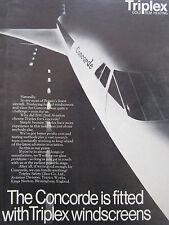 3/1969 PUB TRIPLEX SAFETY GLASS AVIATION CONCORDE GOLD FILM ORIGINAL ADVERT
