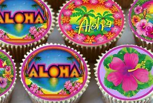 24-x-Aloha-Hawaii-Hawaiana-Luau-A-TEMA-DECORAZIONI-per-Cupcake-Commestibili-Carta-Di-Riso-Torta