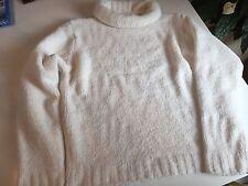 Damen Pullover Weiß Glitzer XL 42 44 Strick Oversize Rollkragen Super Weich K3