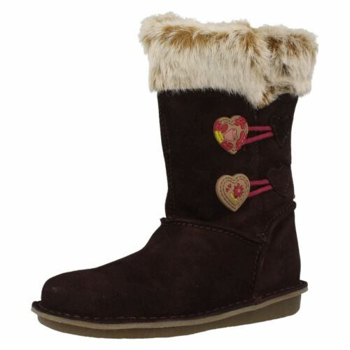 SALE Girls Clarks Snuggle Folk Inf Brown Or Tan Suede Leather Mid Calf Boots