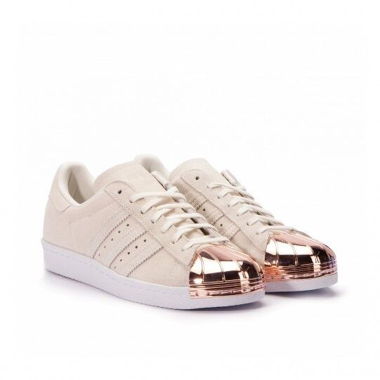 Adidas Superstar 80's metall TOE Freizeit Turnschuhe Beige-Gold Wildleder Größe 39